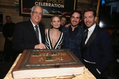 "ONCE UPON A TIME - The cast and crew of ""Once Upon a Time"" celebrated the series' 100th episode on location in Storybrooke. The 100th episode, entitled ""Souls of the Departed,"" airs SUNDAY, MARCH 6 (8:00-9:00 p.m. EST) , on the ABC Television Network. (ABC/Jack Rowand) JENNIFER MORRISON, COLIN O'DONOGHUE, SEAN MAGUIRE"