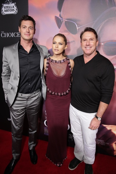 Benjamin Walker, Teresa Palmer and Author/Producer Nicholas Sparks seen at Lionsgate's Los Angeles Special Screening of 'The Choice' at Arclight Hollywood on Monday, Feb. 1, 2016, in Hollywood, CA. (Photo by Eric Charbonneau/Invision for Lionsgate/AP Images)