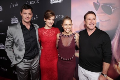 Benjamin Walker, Maggie Grace, Teresa Palmer and Author/Producer Nicholas Sparks seen at Lionsgate's Los Angeles Special Screening of 'The Choice' at Arclight Hollywood on Monday, Feb. 1, 2016, in Hollywood, CA. (Photo by Eric Charbonneau/Invision for Lionsgate/AP Images)