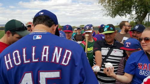 holland signing autographs spring training