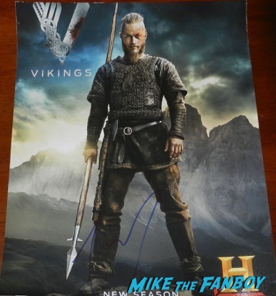 Travis Fimmel signed autograph vikings mini poster PSA2