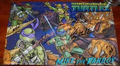 teenage mutant ninja turtles signed autograph comic book poster wondercon