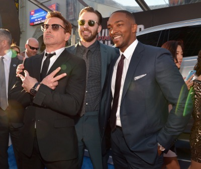 "HOLLYWOOD, CALIFORNIA - APRIL 12: (L-R) Actors Robert Downey Jr., Chris Evans and Anthony Mackie attend The World Premiere of Marvel's ""Captain America: Civil War"" at Dolby Theatre on April 12, 2016 in Los Angeles, California. (Photo by Charley Gallay/Getty Images for Disney) *** Local Caption *** Robert Downey Jr.; Chris Evans; Anthony Mackie"