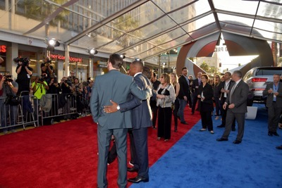 """HOLLYWOOD, CALIFORNIA - APRIL 12:  Actors Chris Evans (L) and Anthony Mackie attends The World Premiere of Marvel's """"Captain America: Civil War"""" at Dolby Theatre on April 12, 2016 in Los Angeles, California.  (Photo by Lester Cohen/Getty Images for Disney) *** Local Caption *** Chris Evans; Anthony Mackie"""