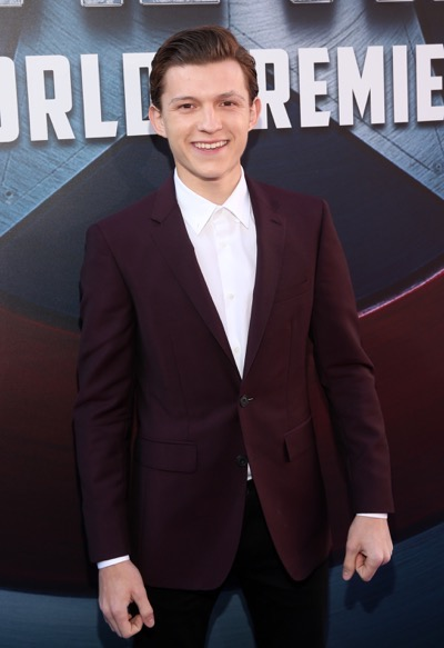 "HOLLYWOOD, CALIFORNIA - APRIL 12:  Actor Tom Holland attends The World Premiere of Marvel's ""Captain America: Civil War"" at Dolby Theatre on April 12, 2016 in Los Angeles, California.  (Photo by Jesse Grant/Getty Images for Disney) *** Local Caption *** Tom Holland"