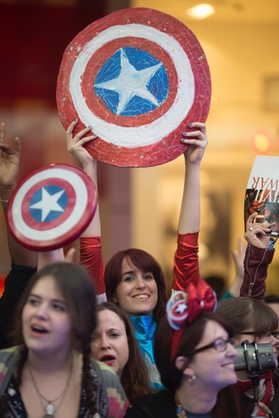 "London UK : Fans attend the European Premiere Of Marvel's ""Captain America: Civil War"" in London on April 26th, 2016. (Credit  : StingMedia for Disney)"