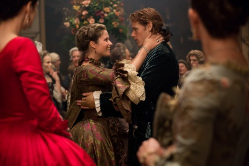 Caitriona Balfe (as Claire Randall Fraser), Margaux Chatelier (as Annalise de Marillac), Sam Heughan (as Jamie Fraser) Episode 202.jpg
