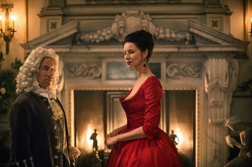 Caitriona Balfe (as Claire Randall Fraser), Simon Callow (as The Duke of Sandringham)