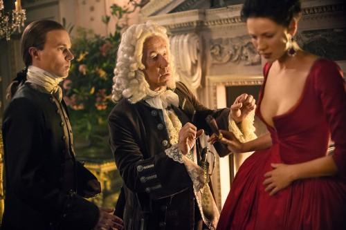Caitriona Balfe (as Claire Randall Fraser), Simon Callow (as The Duke of Sandringham), Laurence Dobiesz (as Alex Randall)
