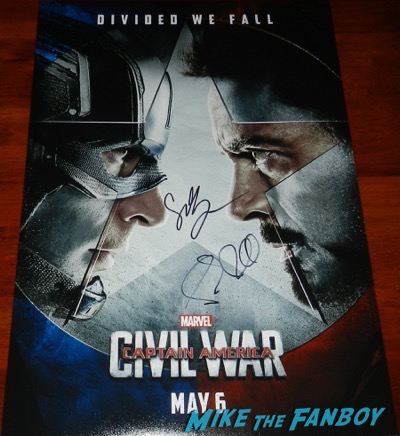 paul rudd sebastian stan signed autograph captain american civil war poster
