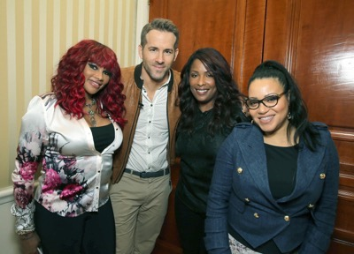 "EXCLUSIVE - DJ Spinderella, Ryan Reynolds, Sandra 'Pepa' Denton and Cheryl 'Salt' James seen at ""DEADPOOL"" Blu-ray and DVD Press Event on Monday, April 11, 2016, in Beverly Hills, CA. (Photo by Eric Charbonneau/Invision for Twentieth Century Fox Home Entertainment/AP Images)"