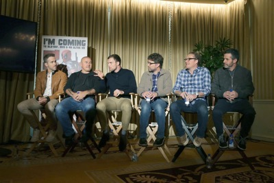 "EXCLUSIVE - Ryan Reynolds, Director Tim Miller, Ed Skrein, Writer Rhett Reese, Writer Paul Wernick and Producer Simon Kinberg seen at ""DEADPOOL"" Blu-ray and DVD Press Event on Monday, April 11, 2016, in Beverly Hills, CA. (Photo by Eric Charbonneau/Invision for Twentieth Century Fox Home Entertainment/AP Images)"