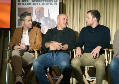 "EXCLUSIVE - Ryan Reynolds, Director Tim Miller and Ed Skrein seen at ""DEADPOOL"" Blu-ray and DVD Press Event on Monday, April 11, 2016, in Beverly Hills, CA. (Photo by Eric Charbonneau/Invision for Twentieth Century Fox Home Entertainment/AP Images)"