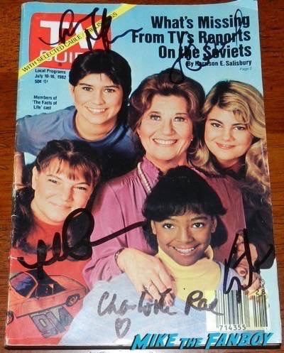 Facts of Life TV Guide 1982  signed autograph kim fields charlotte rae mindy cohn nancy mckeon