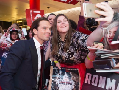 "London UK : Sebastian Stan attends the European Premiere Of Marvel's ""Captain America: Civil War"" in London on April 26th, 2016. (Credit  : StingMedia for Disney)"