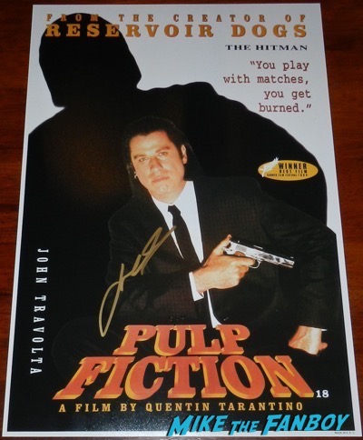 john travolta signed autograph pulp fiction poster PSA