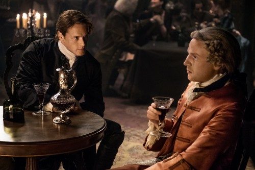 Sam Heughan (Jamie Fraser) and Andrew Gower (Prince Charles Stuart)
