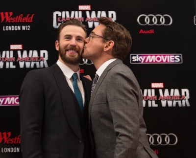 "London UK : Chris Evans and Robert Downey JR attend the European Premiere Of Marvel's ""Captain America: Civil War"" in London on April 26th, 2016. (Credit  : StingMedia for Disney)"