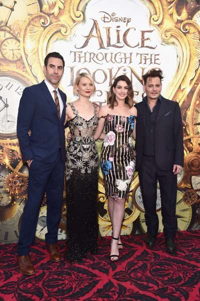 HOLLYWOOD, CA - MAY 23:  Actors Sacha Baron Cohen, Mia Wasikowska, Anne Hathaway and Johnny Depp attend Disneyís 'Alice Through the Looking Glass' premiere with the cast of the film, which included Johnny Depp, Anne Hathaway, Mia Wasikowska and Sacha Baron Cohen at the El Capitan Theatre on May 23, 2016 in Hollywood, California.  (Photo by Alberto E. Rodriguez/Getty Images for Disney) *** Local Caption *** Sacha Baron Cohen; Mia Wasikowska; Anne Hathaway; Johnny Depp