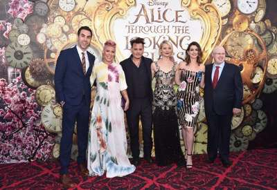 HOLLYWOOD, CA - MAY 23:  (L-R) Actor Sacha Baron Cohen, singer-songwriter P!nk, actors Johnny Depp, Mia Wasikowska, Anne Hathaway and Matt Lucas attend Disneyís 'Alice Through the Looking Glass' premiere with the cast of the film, which included Johnny Depp, Anne Hathaway, Mia Wasikowska and Sacha Baron Cohen at the El Capitan Theatre on May 23, 2016 in Hollywood, California.  (Photo by Alberto E. Rodriguez/Getty Images for Disney) *** Local Caption *** Sacha Baron Cohen; Alecia Beth Moore; Johnny Depp; Mia Wasikowska; Anne Hathaway; Matt Lucas