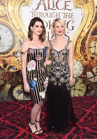 HOLLYWOOD, CA - MAY 23:  Actresses Anne Hathaway and Mia Wasikowska  attend Disneyís 'Alice Through the Looking Glass' premiere with the cast of the film, which included Johnny Depp, Anne Hathaway, Mia Wasikowska and Sacha Baron Cohen at the El Capitan Theatre on May 23, 2016 in Hollywood, California.  (Photo by Alberto E. Rodriguez/Getty Images for Disney) *** Local Caption *** Anne Hathaway; Mia Wasikowska