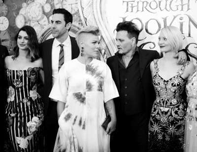 HOLLYWOOD, CA - MAY 23:  (EDITORS NOTE: Image has been shot in black and white. Color version not available.) (L-R) Actress Anne Hathaway, actor Sacha Baron Cohen, singer-songwriter P!nk, actor Johnny Depp and actress Mia Wasikowska attend Disneyís 'Alice Through the Looking Glass' premiere with the cast of the film, which included Johnny Depp, Anne Hathaway, Mia Wasikowska and Sacha Baron Cohen at the El Capitan Theatre on May 23, 2016 in Hollywood, California.  (Photo by Charley Gallay/Getty Images for Disney) *** Local Caption *** Anne Hathaway; Sacha Baron Cohen; Alecia Beth Moore; Johnny Depp; Mia Wasikowska