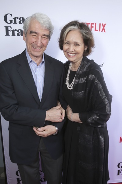 "Sam Waterston and Lynn Louisa Woodruff seen at Season Two Premiere of Netflix original series ""Grace and Frankie"" on Sunday, May 1, 2016, in Los Angeles, CA. (Photo by Eric Charbonneau/Invision for Netflix/AP Images)"