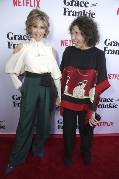 "Jane Fonda and Lily Tomlin seen at Season Two Premiere of Netflix original series ""Grace and Frankie"" on Sunday, May 1, 2016, in Los Angeles, CA. (Photo by Eric Charbonneau/Invision for Netflix/AP Images)"