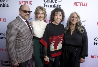 "Creator/Writer/Exec. Producer Howard J. Morris, Jane Fonda, Lily Tomlin and Creator/Writer/Exec. Producer Marta Kauffman seen at Season Two Premiere of Netflix original series ""Grace and Frankie"" on Sunday, May 1, 2016, in Los Angeles, CA. (Photo by Eric Charbonneau/Invision for Netflix/AP Images)"