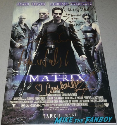 the matrix poster signed by keanu reeves carrie anne moss autograph
