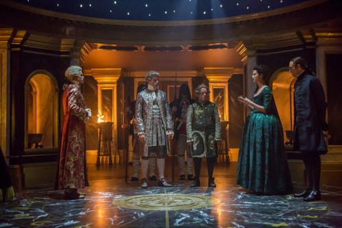 Lionel-Lingelser-as-King-Louis-XV-Stanley-Weber-as-Le-Comte-St.-Germain-Dominique-Pinon-as-Master-Raymond-Caitriona-Balfe-as-Claire-Randall-Fraser-Episode-207