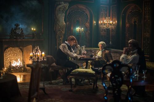 Sam Heughan (as Jamie Fraser), Andrew Gower (as Prince Charles Stuart), Stanley Weber (as Le Comte St. Germain)- Episode 206