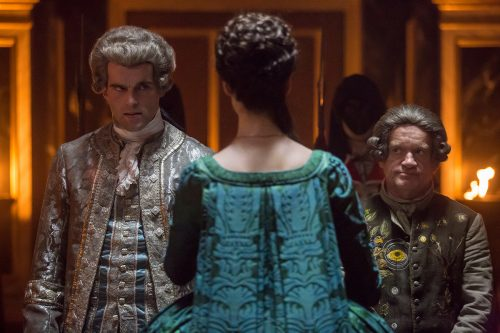 Stanley-Weber-as-Le-Comte-St.-Germain-Caitriona-Balfe-as-Claire-Randall-Fraser-Dominique-Pinon-as-Master-Raymond-Episode-207