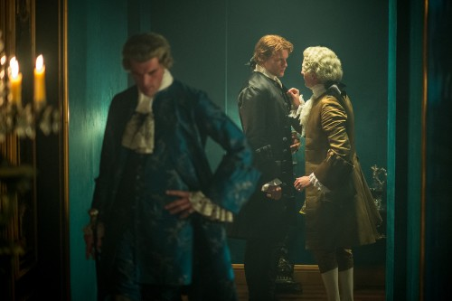 Stanley Weber (as Le Comte St. Germain), Sam Heughan (as Jamie Fraser)- Episode 206