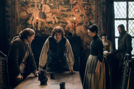 Steven Cree (as Ian Murray), Sam Heughan (as Jamie Fraser), Caitriona Balfe (as Claire Randall Fraser), Laura Donnelly (as Jenny Murray)- Episode 208