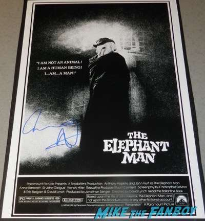 anthony hopkins signed autograph the elephant man poster