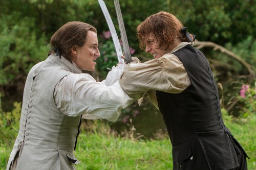 Tobias Menzies (as Black Jack Randall), Sam Heughan (as Jamie Fraser)- Episode 206
