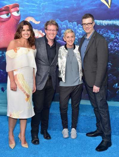 HOLLYWOOD, CA - JUNE 08:  (L-R) Producer Lindsey Collins, Director/screenwriter Andrew Stanton, actress Ellen DeGeneres and co-director Angus MacLane attend The World Premiere of Disney-Pixarís FINDING DORY on Wednesday, June 8, 2016 in Hollywood, California.  (Photo by Alberto E. Rodriguez/Getty Images for Disney) *** Local Caption *** Lindsey Collins; Andrew Stanton; Ellen DeGeneres; Angus MacLane