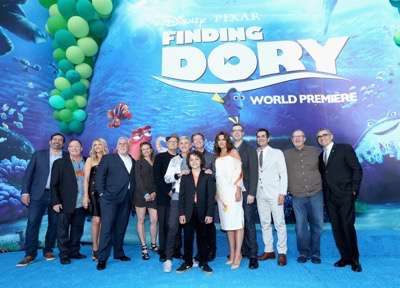 HOLLYWOOD, CA - JUNE 08:  (L-R) Actor Bob Peterson, executive producer John Lasseter, actors Kaitlin Olson, John Ratzenberger, screenwriter Victoria Strouse, actors Albert Brooks, Ellen DeGeneres, Director/screenwriter Andrew Stanton, actor Hayden Rolence, producer Lindsey Collins, co-director Angus MacLane, actors Ty Burrell, Ed O'Neill and Eugene Levy attend The World Premiere of Disney-Pixarís FINDING DORY on Wednesday, June 8, 2016 in Hollywood, California.  (Photo by Jesse Grant/Getty Images for Disney ) *** Local Caption *** Bob Peterson; John Lasseter; Kaitlin Olson; John Ratzenberger; Victoria Strouse; Albert Brooks; Ellen DeGeneres; Andrew Stanton; Hayden Rolence; Lindsey Collins; Angus MacLane; Ty Burrell; Ed O'Neill; Eugene Levy