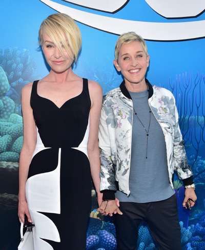 HOLLYWOOD, CA - JUNE 08:  Actresses Portia de Rossi (L) and Ellen DeGeneres attend The World Premiere of Disney-Pixarís FINDING DORY on Wednesday, June 8, 2016 in Hollywood, California.  (Photo by Alberto E. Rodriguez/Getty Images for Disney) *** Local Caption *** Portia de Rossi; Ellen DeGeneres