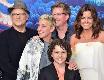 HOLLYWOOD, CA - JUNE 08: (L-R top) Actors Albert Brooks, Ellen DeGeneres, Director/screenwriter Andrew Stanton, actor Hayden Rolence and producer Lindsey Collins attend The World Premiere of Disney-Pixarís FINDING DORY on Wednesday, June 8, 2016 in Hollywood, California.  (Photo by Alberto E. Rodriguez/Getty Images for Disney) *** Local Caption *** Albert Brooks; Ellen DeGeneres; Lindsey Collins; Andrew Stanton; Hayden Rolence
