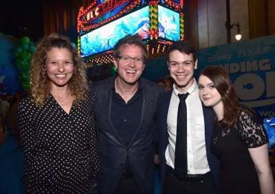 HOLLYWOOD, CA - JUNE 08: (L-R) Screenwriter Victoria Strouse, Director/screenwriter Andrew Stanton, Alexander Gould and Lieba Hall attend The World Premiere of Disney-Pixarís FINDING DORY on Wednesday, June 8, 2016 in Hollywood, California.  (Photo by Alberto E. Rodriguez/Getty Images for Disney) *** Local Caption *** Victoria Strouse; Andrew Stanton; Alexander Gould; Lieba Hall