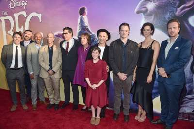 "HOLLYWOOD, CA - JUNE 21:  (L-R) Actors Jonathan Holmes, Paul Moniz de Sa, Daniel Bacon, Chris Gibbs, Jemaine Clement, Penelope Wilton, Mark Rylance, Ruby Barnhill, Bill Hader, Rebecca Hall and Rafe Spall arrive on the red carpet for the US premiere of Disney's ""The BFG,"" directed and produced by Steven Spielberg. A giant sized crowd lined the streets of Hollywood Boulevard to see stars arrive at the El Capitan Theatre. ""The BFG"" opens in U.S. theaters on July 1, 2016, the year that marks the 100th anniversary of Dahl's birth, at the El Capitan Theatre on June 21, 2016 in Hollywood, California.  (Photo by Alberto E. Rodriguez/Getty Images for Disney) *** Local Caption *** Jonathan Holmes; Paul Moniz de Sa; Daniel Bacon; Chris Gibbs; Jemaine Clement; Penelope Wilton; Mark Rylance; Ruby Barnhill; Bill Hader; Rebecca Hall; Rafe Spall"
