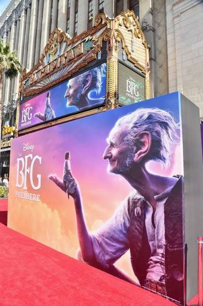 "HOLLYWOOD, CA - JUNE 21:  A general view of the atmosphere during the red carpet for the US premiere of Disney's ""The BFG,"" directed and produced by Steven Spielberg. A giant sized crowd lined the streets of Hollywood Boulevard to see stars arrive at the El Capitan Theatre. ""The BFG"" opens in U.S. theaters on July 1, 2016, the year that marks the 100th anniversary of Dahl's birth, at the El Capitan Theatre on June 21, 2016 in Hollywood, California.  (Photo by Alberto E. Rodriguez/Getty Images for Disney)"