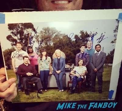 parks and recreation signed autograph cast photo rashida jones amy poehler