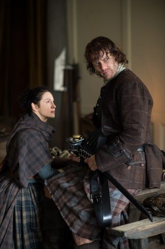 Caitriona Balfe (as Claire Randall Fraser), Sam Heughan (as Jamie Fraser) Ep. 212