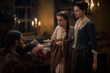 Duncan Lacroix (as Murtagh Fitzgibbons), Rosie Day (as Mary Hawkins), Caitriona Balfe (as Claire Randall Fraser)- Episode 211