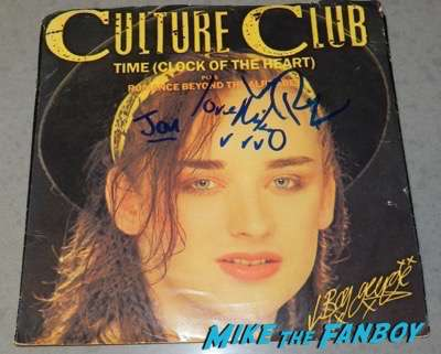 culture club boy george signing autograph time clock of the heart 45 record lp psa