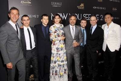 """- New York, NY - 6/6/16 - Summit Entertainment Presents the World Premiere of """"Now You  See Me 2"""" -Pictured: Erik Feig (Co-Pres Of Lionsgate Mation Picture Group), Dave Franco, Jesse Eisenberg, Lizzy Caplan, Mark Ruffalo, Daniel Radcliffe, Bobby Cohen (Producer, Co-Pres, Production Lionsgate Motion Pictuer Group), Jon M. Chu (Director) -Photo by: Marion Curtis/StarPix"""