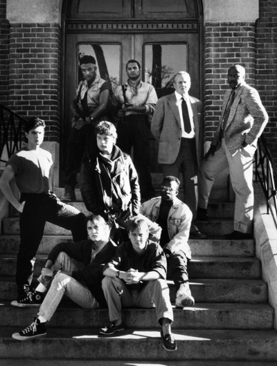 TOY SOLDIERS, (seated), Wil Wheaton, Keith Coogan, T.E. Russell, (second row), Goeroge Perez, Sean Astin, (back, right), Denholm Elliott, Louis Gossett, Jr., 1991, (c) TriStar Pictures